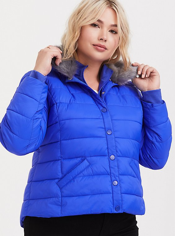 Electric Blue & Grey Faux Fur Girlfriend Crop Puffer Jacket, , hi-res