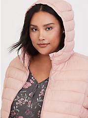 Blush Pink Nylon Packable Puffer Jacket, DUSTY QUARTZ, alternate