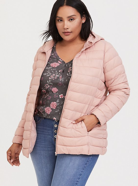 Blush Pink Nylon Packable Puffer Coat, , hi-res