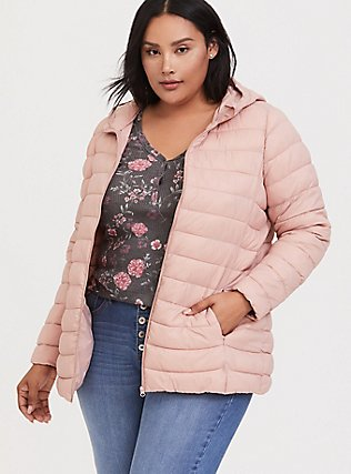 Blush Pink Nylon Packable Puffer Coat, DUSTY QUARTZ, hi-res
