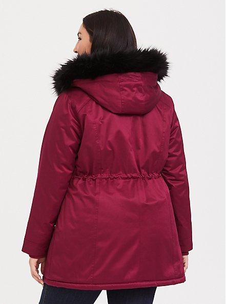 Red & Black Twill Faux Fur Trim Hooded Parka, BEET RED, alternate