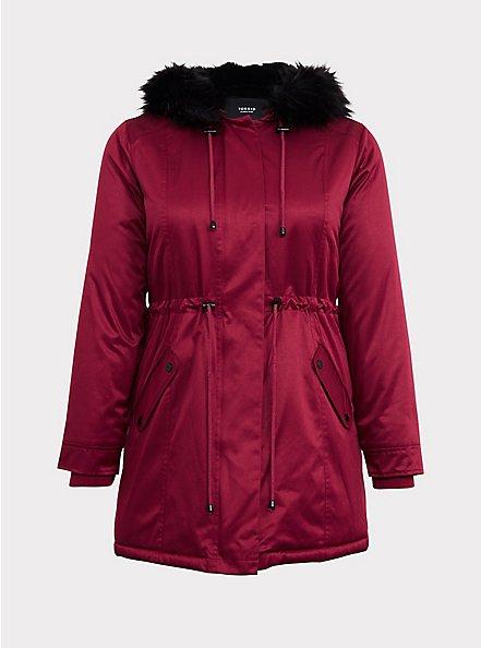 Red & Black Twill Faux Fur Trim Hooded Parka, BEET RED, hi-res
