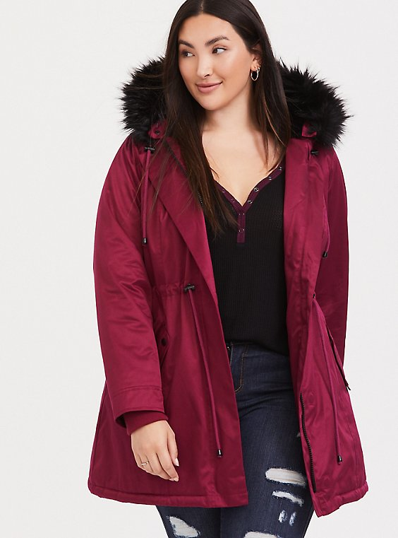 Plus Size Red & Black Twill Faux Fur Trim Hooded Parka, , hi-res