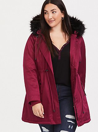 Red & Black Twill Faux Fur Trim Hooded Parka, BEET RED, hi-res