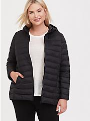 Black Packable Nylon Puffer Coat, DEEP BLACK, alternate