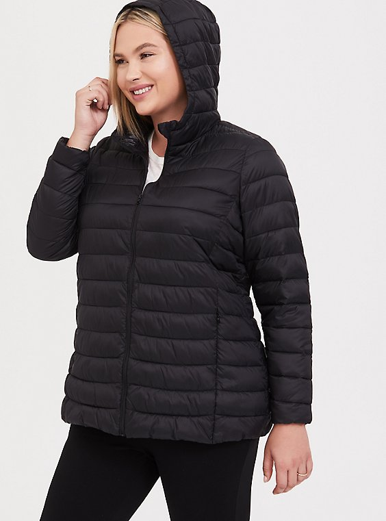 Black Packable Nylon Puffer Coat, , hi-res