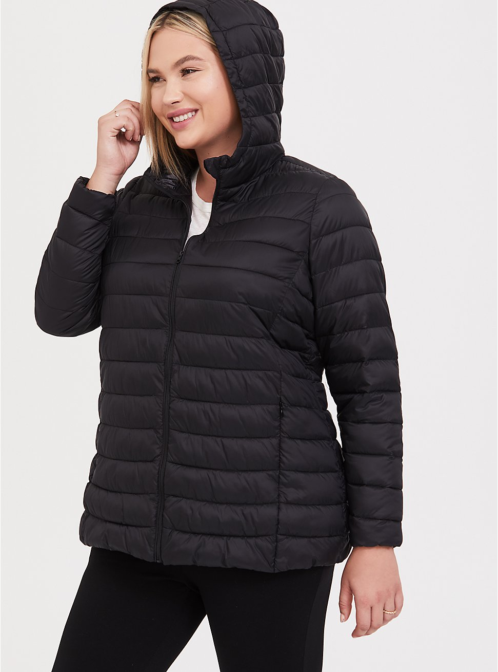 Black Nylon Packable Puffer Jacket, DEEP BLACK, hi-res
