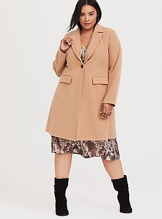 Caramel Brushed Premium Ponte Coat, , alternate