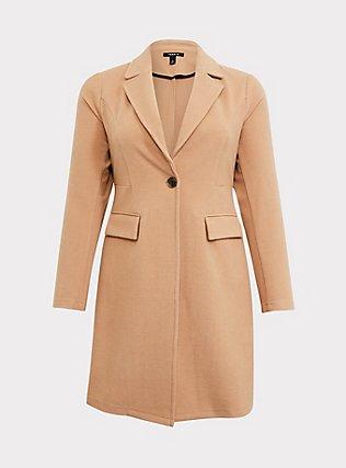 Caramel Brushed Premium Ponte Coat, , flat