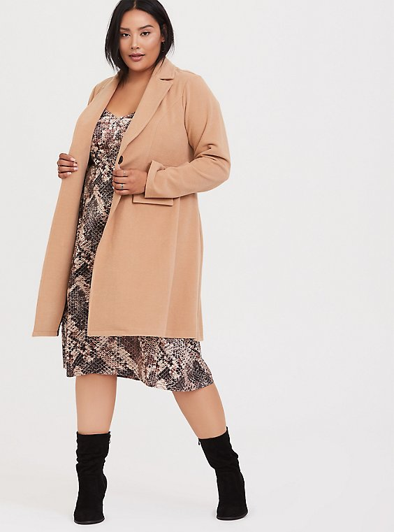 Plus Size Caramel Brushed Premium Ponte Coat, , hi-res