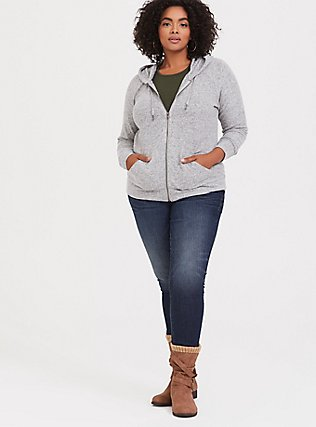 Plus Size Super Soft Plush Light Grey Zip Hoodie, HEATHER GREY, alternate