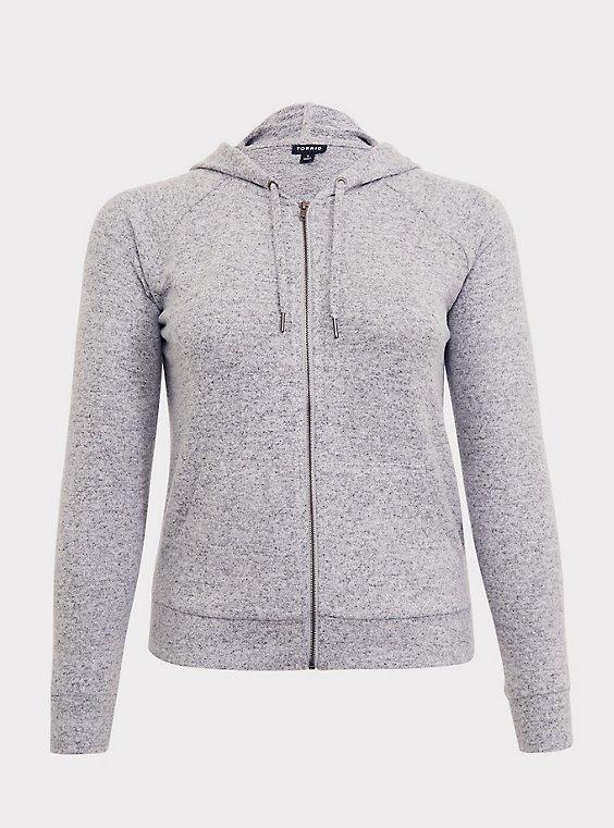 Plus Size Super Soft Plush Light Grey Zip Hoodie, , flat
