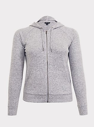 Plus Size Super Soft Plush Light Grey Zip Hoodie, HEATHER GREY, flat