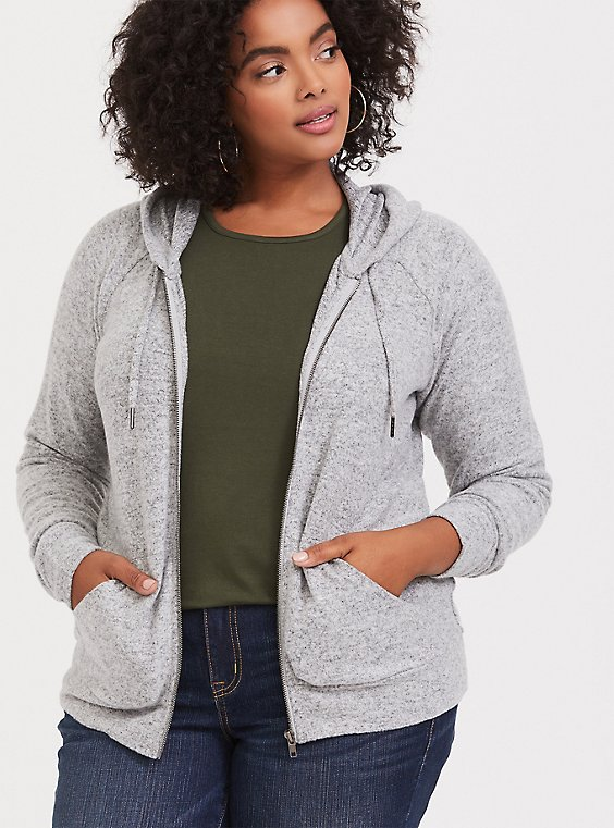 Plus Size Super Soft Plush Light Grey Zip Hoodie, , hi-res