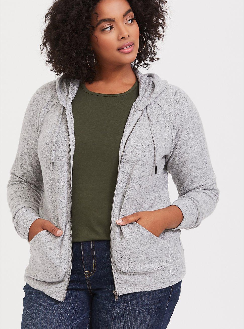 Plus Size Super Soft Plush Light Grey Zip Hoodie, HEATHER GREY, hi-res