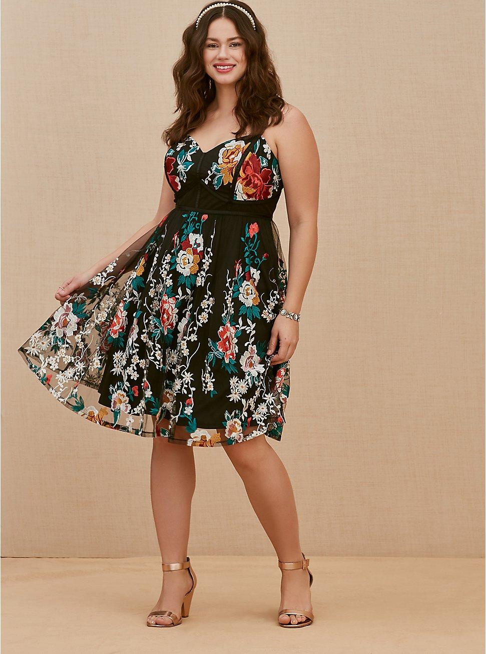 Special Occasion Black Floral Embroidered Mesh Dress, FLORALS-BLACK, hi-res