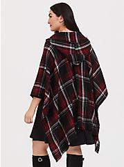 Red Plaid Fringe Hooded Ruana, , alternate