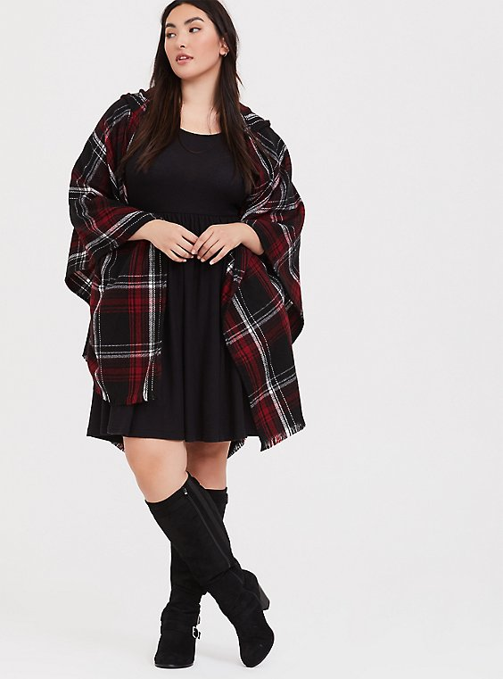 Plus Size Red Plaid Fringe Hooded Ruana, , hi-res