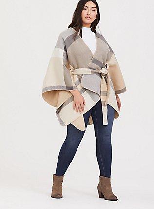 Plus Size Grey & Tan Plaid Self-Tie Ruana, , alternate