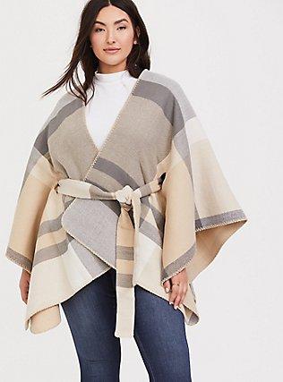 Plus Size Grey & Tan Plaid Self-Tie Ruana, , hi-res