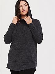 Plus Size Super Soft Plush Black Cowl Neck Tunic Hoodie, DEEP BLACK, alternate