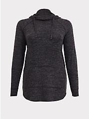 Plus Size Super Soft Plush Black Cowl Neck Tunic Hoodie, DEEP BLACK, hi-res