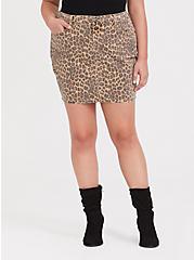 Leopard Denim Mini Skirt, LEOPARD, hi-res
