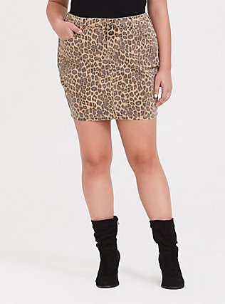 Leopard Denim Mini Skirt, LEOPARD, hi-res