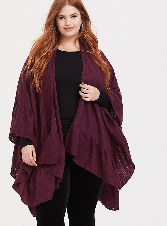 Burgundy Purple Ruffle Ruana, , hi-res
