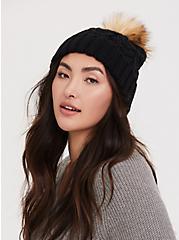 Black Faux Fur Pom Pom Beanie, , alternate