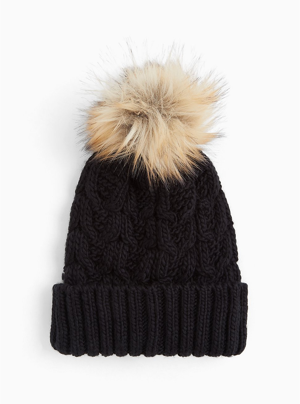 Black Faux Fur Pom Pom Beanie, , hi-res