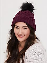 Burgundy Purple Faux Fur Pom Pom Beanie, , alternate