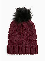 Burgundy Purple Faux Fur Pom Pom Beanie, , hi-res