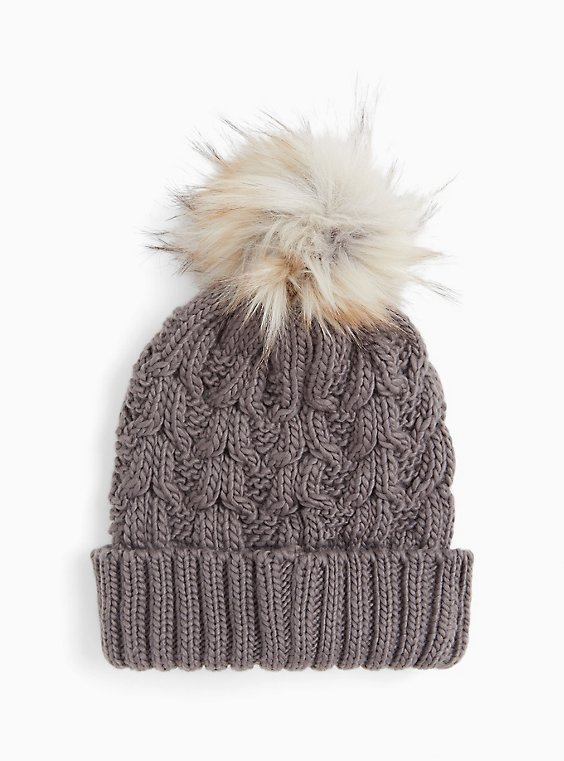 Grey Faux Fur Pom Pom Beanie, , hi-res