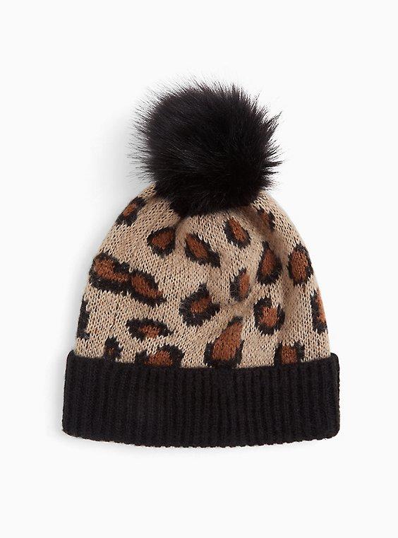 Leopard & Black Faux Fur Pom Pom Beanie, , hi-res
