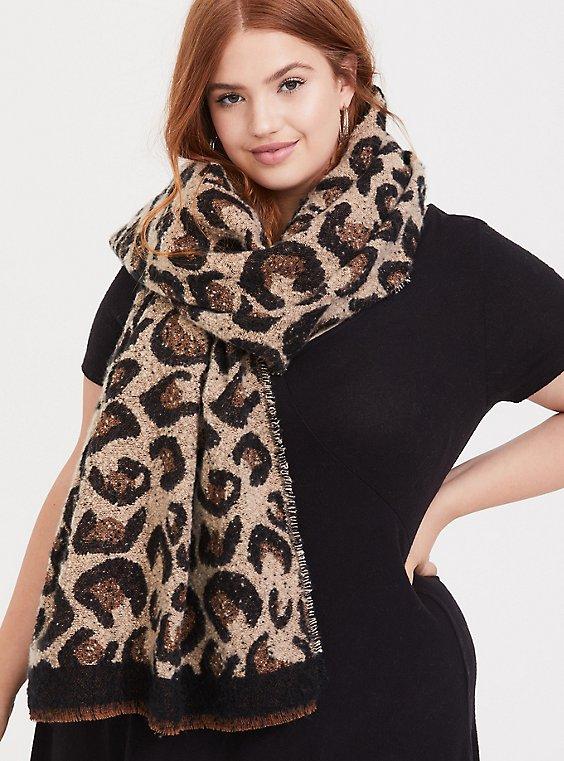 Leopard Cozy Scarf, , hi-res