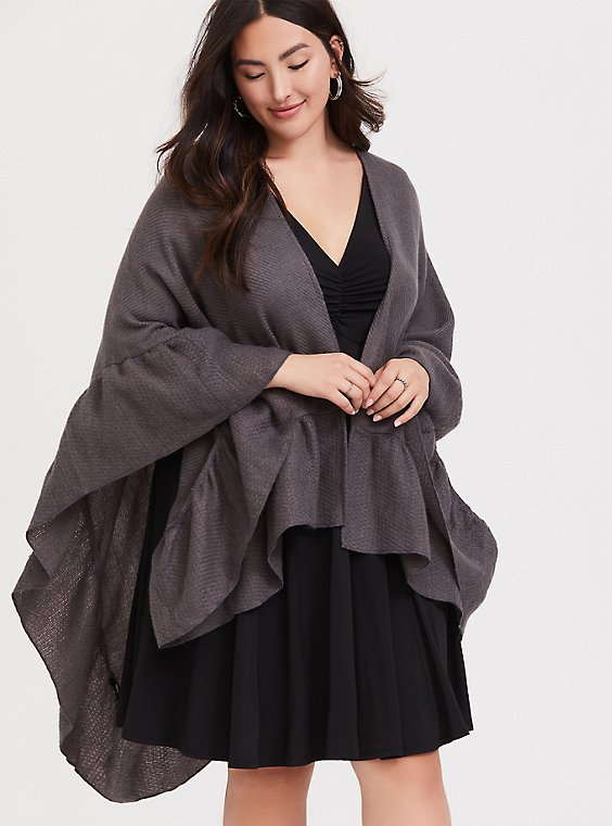 Dark Grey Ruffle Ruana, , hi-res