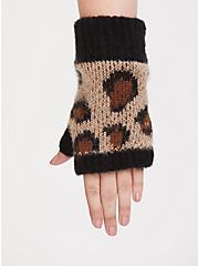 Leopard Print Fingerless Gloves, , alternate