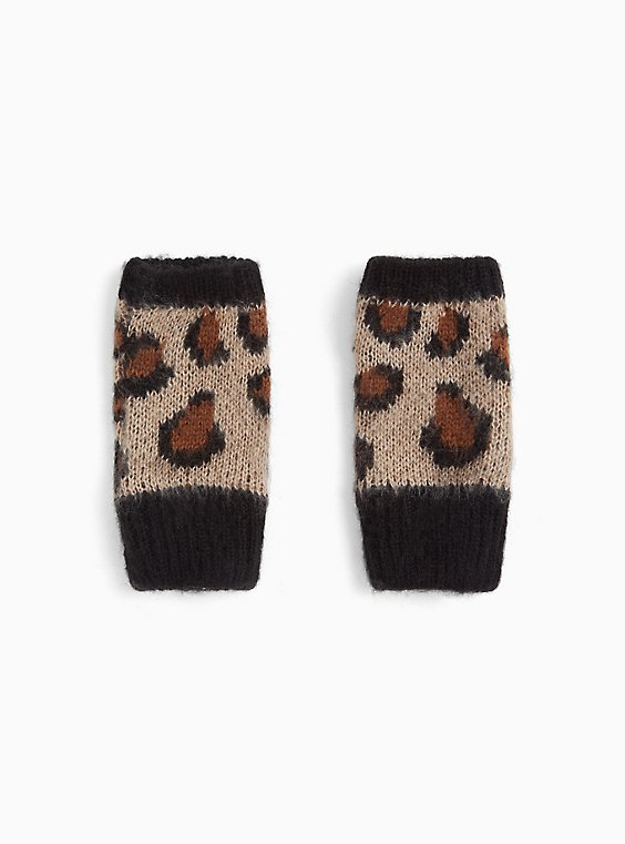 Leopard Print Fingerless Gloves, , hi-res