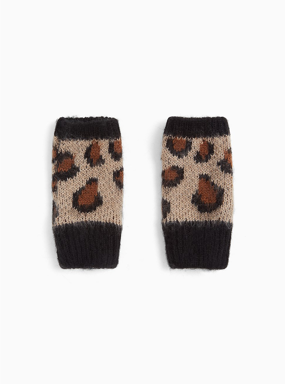 Leopard Print Fingerless Gloves, , hi-res