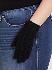 Black Cable Knit Rhinestone Double Layer Gloves, , alternate