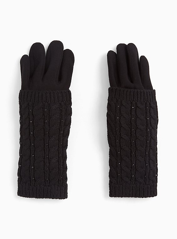 Black Cable Knit Rhinestone Double Layer Gloves, , hi-res