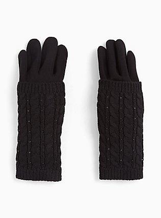 Black Cable Knit Gloves, , hi-res