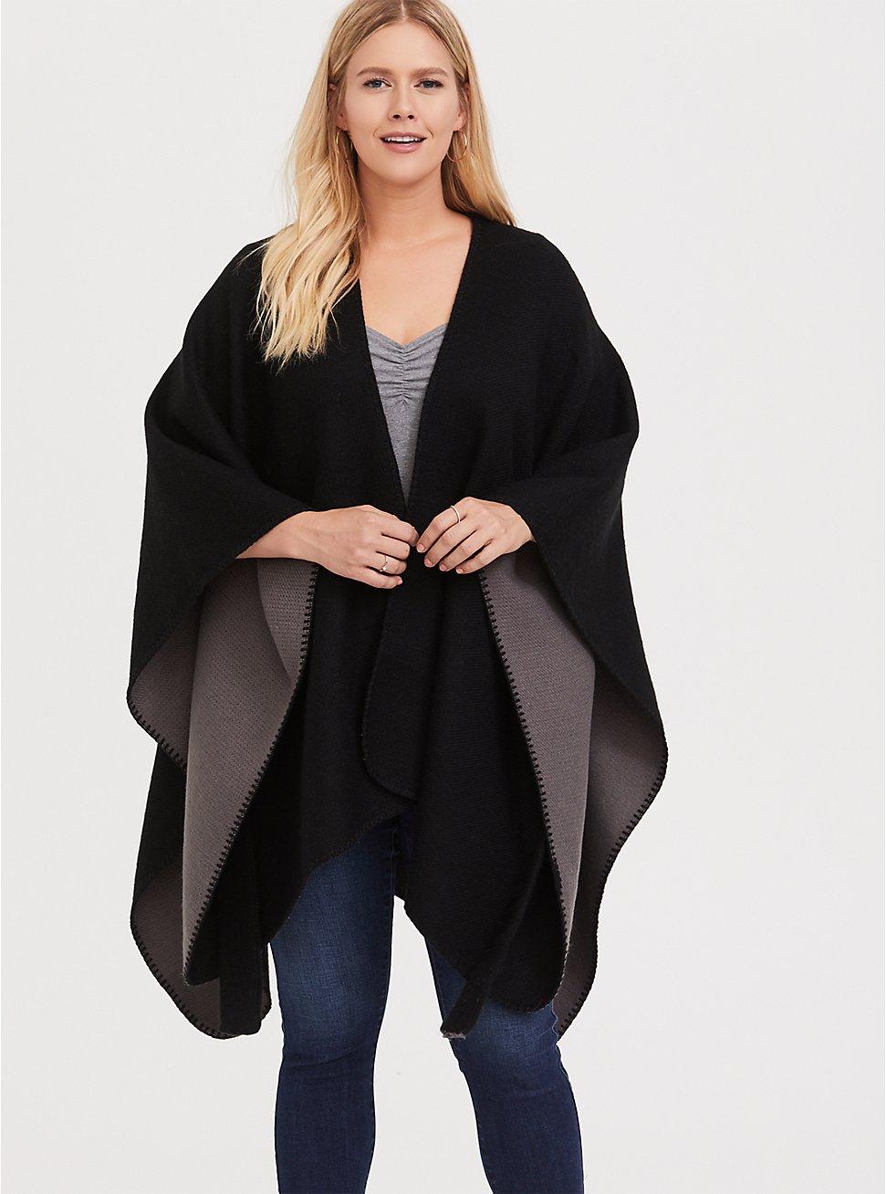 Plus Size Black Reversible Belted Ruana, , hi-res
