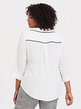 Madison - White & Black Piped Georgette Button Front Blouse, CLOUD DANCER, alternate