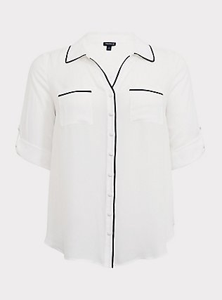 Madison - White & Black Piped Georgette Button Front Blouse, CLOUD DANCER, flat