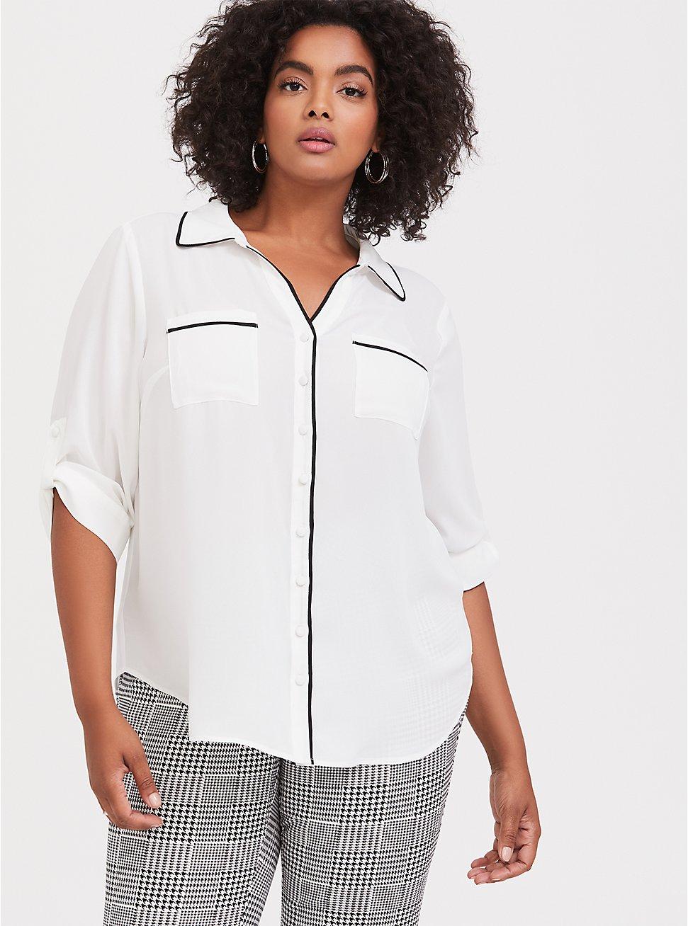 Plus Size Madison - White & Black Piped Georgette Button Front Blouse, CLOUD DANCER, hi-res