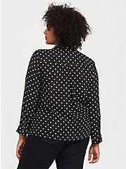 Plus Size Black & White Polka Dot Crepe Pullover Blouse, MULTI, alternate