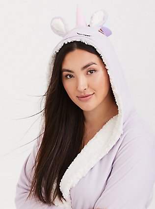Light Lavender Purple Unicorn Sleep Robe, PURPLE, hi-res