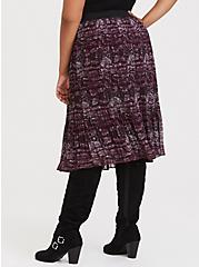 Burgundy Purple Snakeskin Print Pleated Midi Skirt, SNAKE - GREY, alternate